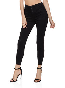WAX 4 Button High Waisted Push Up Jeans - 3074071610161