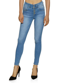 WAX 5 Button Whiskered Push Up Jeans - 3074071610163