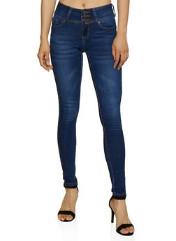 WAX 3 Button Whiskered Push Up Jeans - 3074071610700