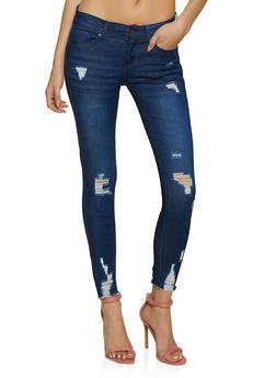 WAX Raw Hem Frayed Skinny Jeans - 3074071610900