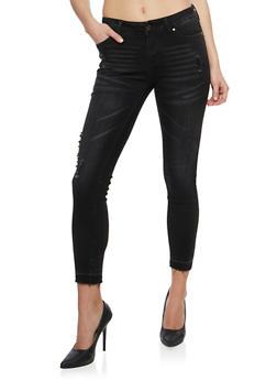 Wax Distressed Skinny Jeans with Raw Cut Hem - 3074071610949