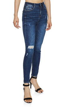 WAX High Waisted Distressed Jeans - 3074071613030