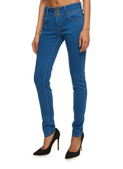 Wax Three Button Push Up Skinny Jeans - 3074071613401