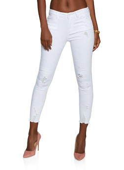 WAX Distressed Raw Hem Push Up Skinny Jeans - 3074071615557