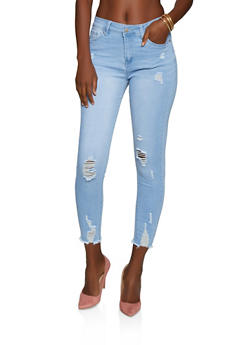 WAX Distressed Raw Hem Push Up Skinny Jeans - 3074071615557