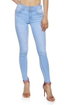 WAX 3 Button Frayed Skinny Jeans - 3074071616510