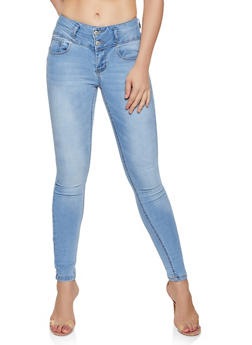 WAX 3 Button Stretch Skinny Jeans - 3074071616565