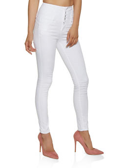 WAX High Waisted 4 Button Skinny Jeans - 3074071617530