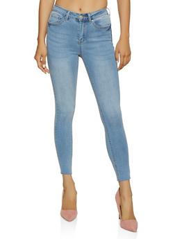 WAX Raw Hem Whiskered Skinny Jeans - 3074071618510