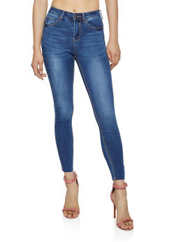 WAX Raw Hem Whiskered Skinny Jeans - 3074071618510