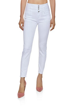 WAX 4 Button Lace Up Back Jeans - 3074071619012
