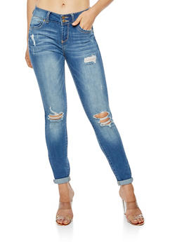 WAX Roll Cuff Distressed Push Up Jeans - 3074071619085