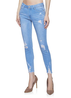 WAX Push Up Raw Hem Skinny Jeans - 3074071619091