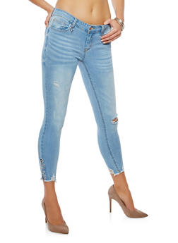 WAX Metal Ring Detail Skinny Jeans - 3074071619114