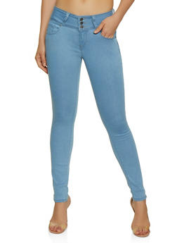 WAX 3 Button Push Up Solid Skinny Jeans - 3074071619342