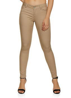 Push Up Solid Twill Pants - 3074071619630