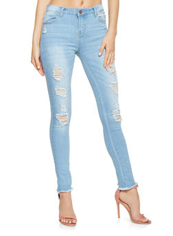 Distressed Raw Hem Skinny Jeans - 3074072290001