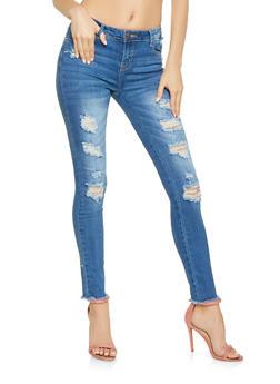 Distressed Raw Hem Skinny Jeans - 3074072290001