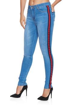 Striped Tape Detail Skinny Jeans - 3074072290021