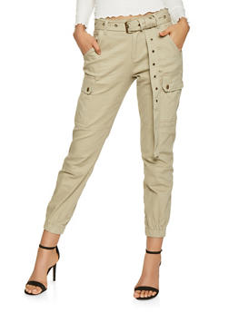 Belted Twill Cargo Joggers - 3074072290036
