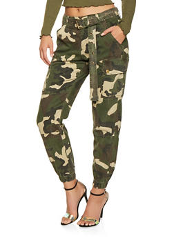 Belted Twill Cargo Joggers - HUNTER - 3074072290036