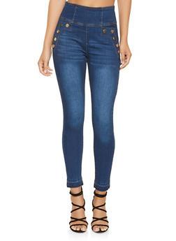 High Waisted Zip Back Skinny Jeans - 3074072290041