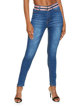 Belted High Waisted Skinny Jeans - 3074072290045