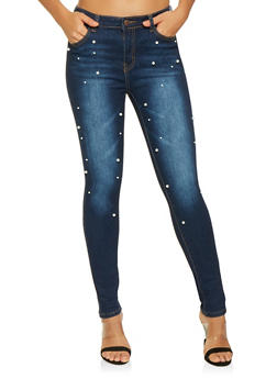 Faux Pearl Studded Skinny Jeans - 3074072290047