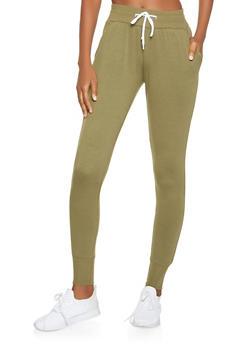 Ribbed Knit Waist Sweatpants - 3074072290068