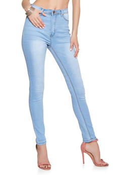 High Waisted Whisker Wash Jeans - 3074072290429