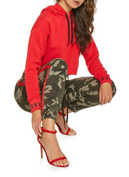 Side Tape Camo Joggers - RED - 3074072290448