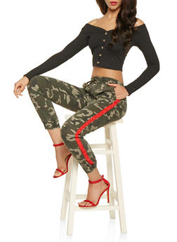 Side Tape Camo Joggers - RED - 3074072290449
