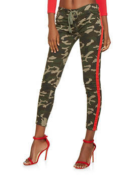 Side Tape Camo Jeggings - 3074072290662