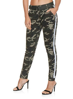 Side Stripe Belted Camo Joggers - 3074072291106