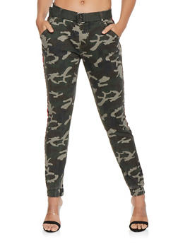 Side Stripe Belted Camo Joggers - RED - 3074072291106