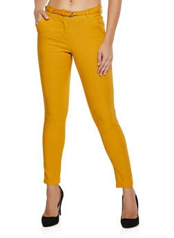 Belted Stretch Skinny Pants - 3074072291655
