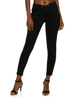 Drawstring Waist Pull On Pants - 3074072292191
