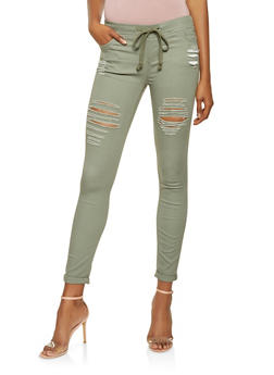 Destroyed Pull On Jeggings - 3074072296345