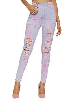 High Waisted Destruction Jeans - 3074072299479