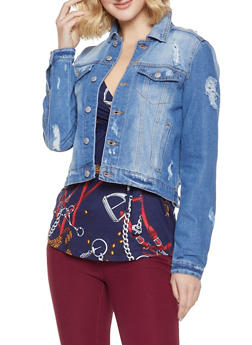 Almost Famous Distressed Denim Jacket - 3075015990155