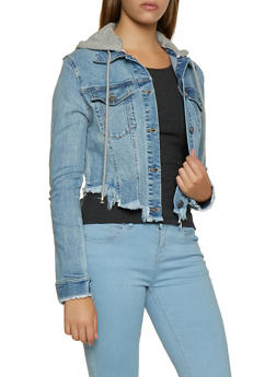 Hooded Frayed Denim Jacket - 3075038200474