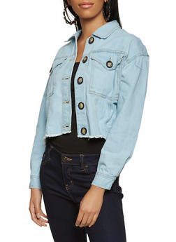 Wooden Button Frayed Hem Jean Jacket - 3075051067935