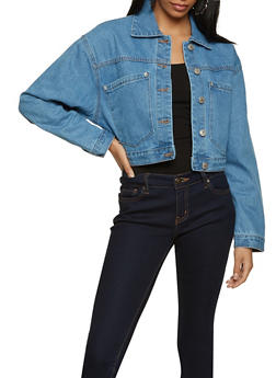 Oversized Pocket Cropped Jean Jacket - 3075051067946