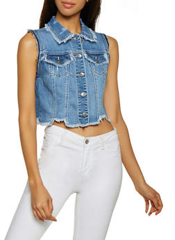 Cello Frayed Denim Vest - 3075063153113