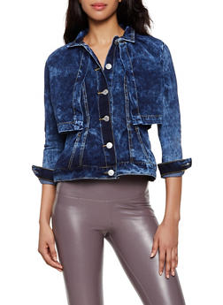Layered Jean Jacket - 3075063403302