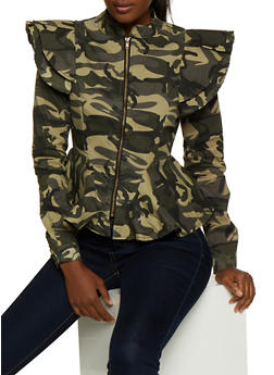Ruffled Shoulder Camo Peplum Jacket - 3075063407003