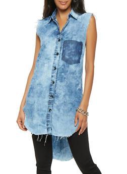 Cloud Wash High Low Shirt - 3075063407498