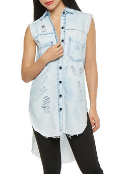 Distressed Chambray High Low Shirt - 3075063407639