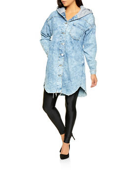 Hooded Long Denim Jacket - 3075063408033