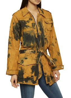 Oversized Tie Dye Denim Anorak Jacket - 3075063408903